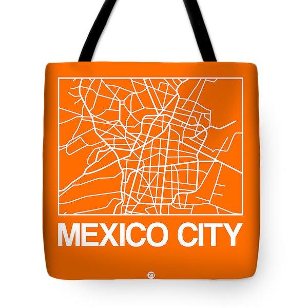 Orange Map Of Mexico City Tote Bag