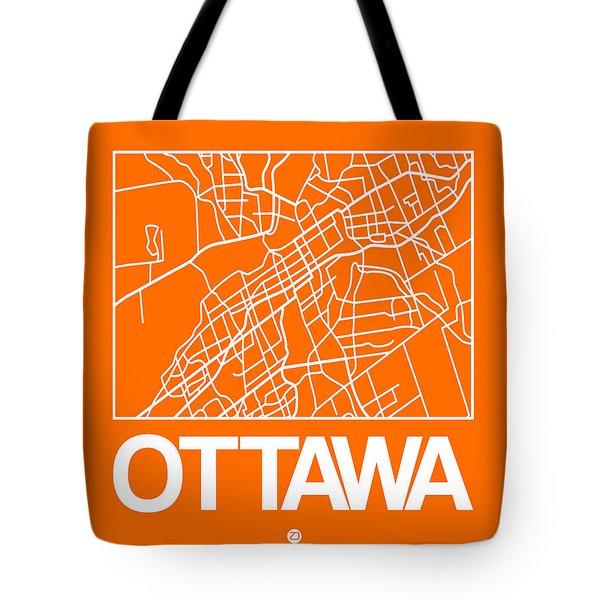 Orange Map Of Ottawa Tote Bag