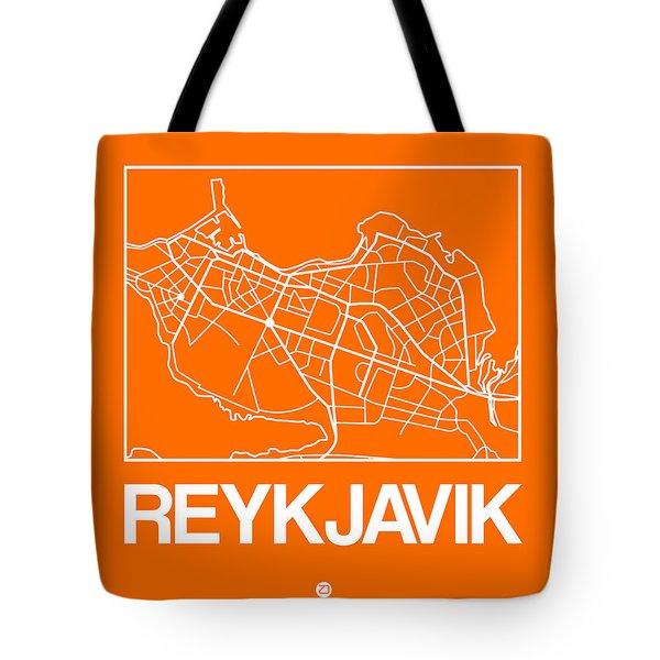 Orange Map Of Reykjavik Tote Bag