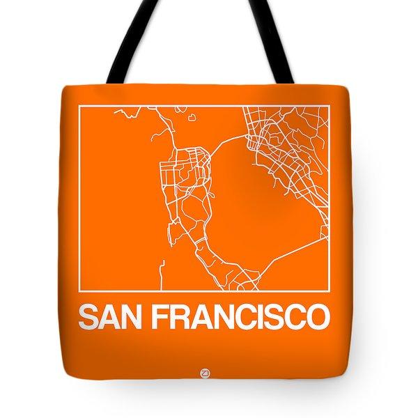Orange Map Of San Francisco Tote Bag