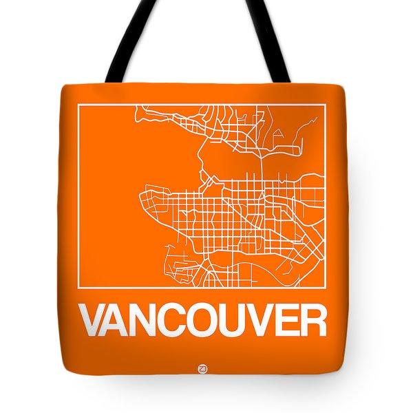 Orange Map Of Vancouver Tote Bag