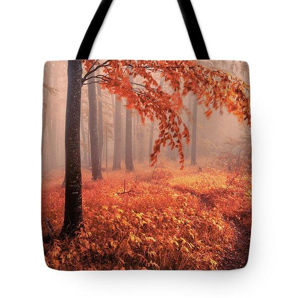 Orange Wood Tote Bag
