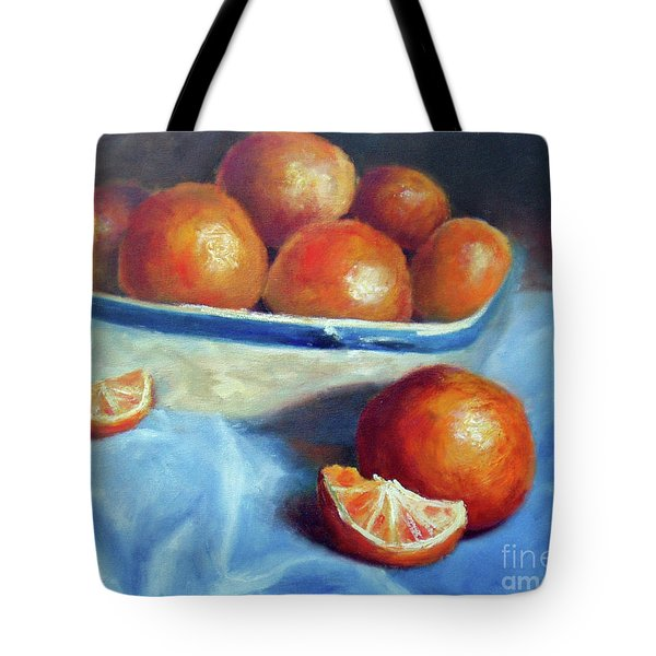 Oranges And Blue Tote Bag