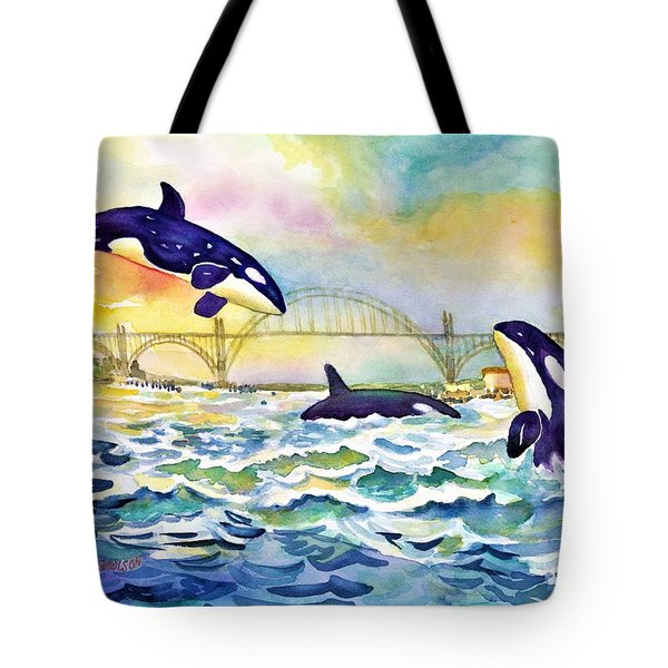 Orcas In Yaquina Bay Tote Bag