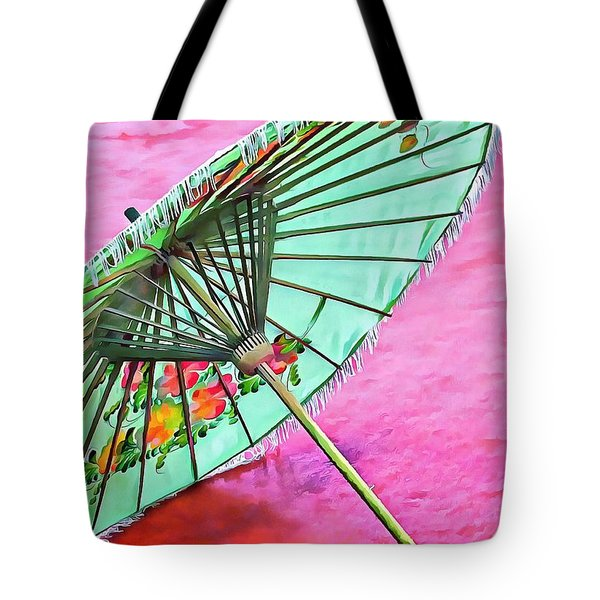 Tote Bag featuring the photograph Oriental Green Parasol by Dorothy Berry-Lound