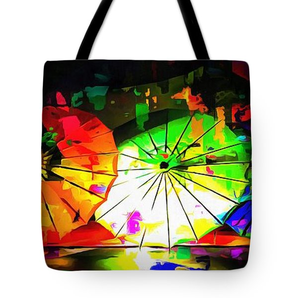 Tote Bag featuring the photograph Oriental Parasols Abstract by Dorothy Berry-Lound