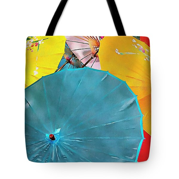 Tote Bag featuring the photograph Oriental Parasols Mixture by Dorothy Berry-Lound