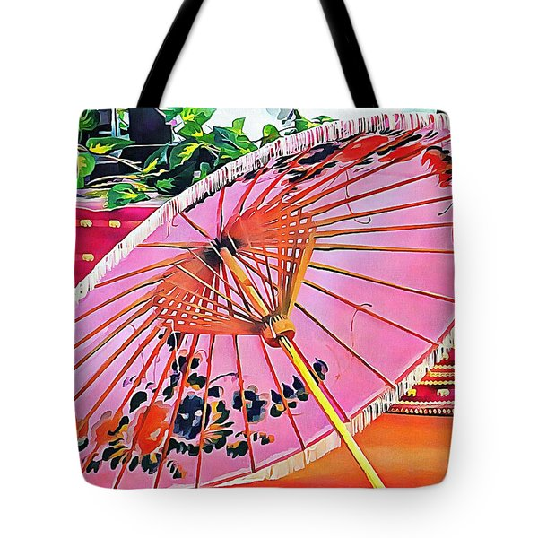 Tote Bag featuring the photograph Oriental Pink Parasol by Dorothy Berry-Lound