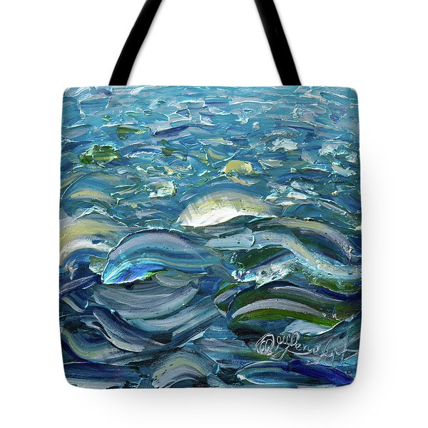 Tote Bag featuring the painting Original Oil Painting With Palette Knife On Canvas - Impressionist Roling Blue Sea Waves  by OLena Art Brand