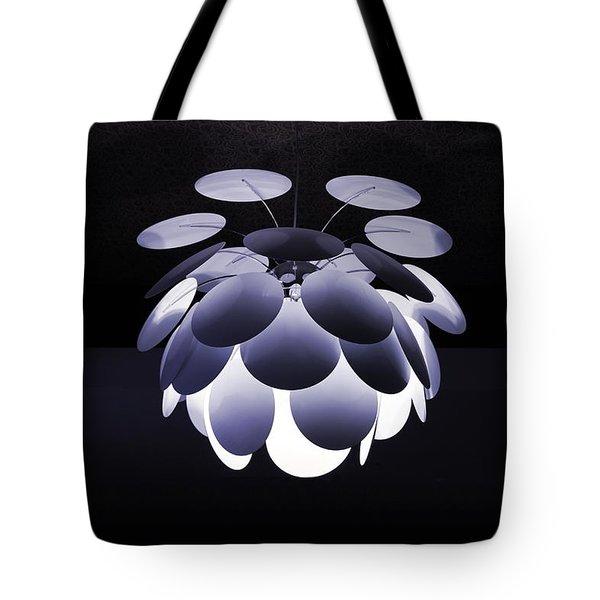 Ornamental Ceiling Light Fixture - Blue Tote Bag
