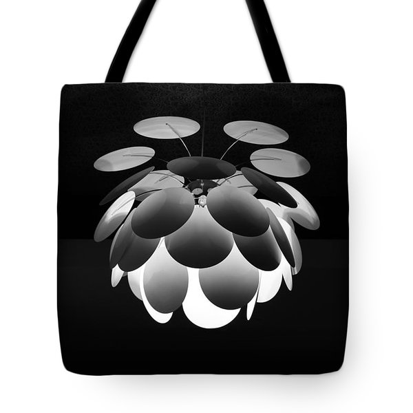 Tote Bag featuring the photograph Ornamental Ceiling Light Fixture - Grayscale by Debi Dalio