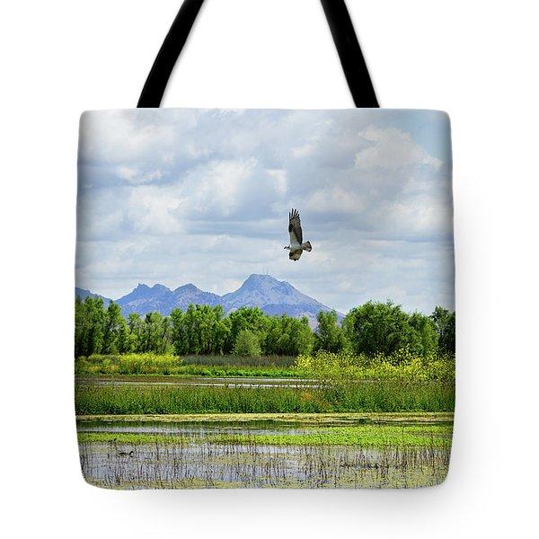 Osprey Over The Wetlands Tote Bag