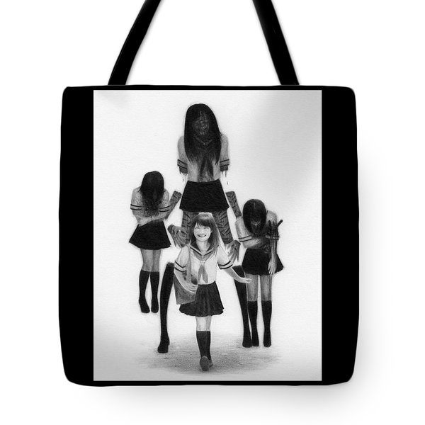 Tote Bag featuring the drawing Our Last School Days - Artwork by Ryan Nieves