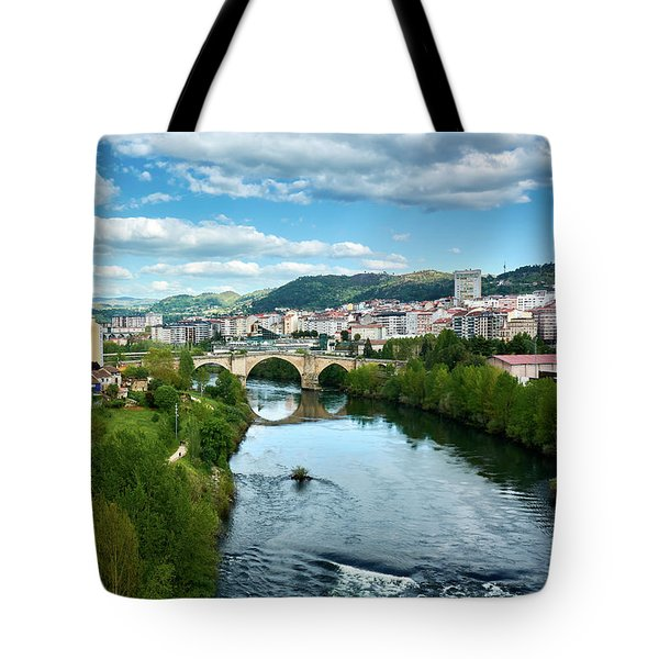 Ourense And The Roman Bridge From The Millennium Bridge Tote Bag