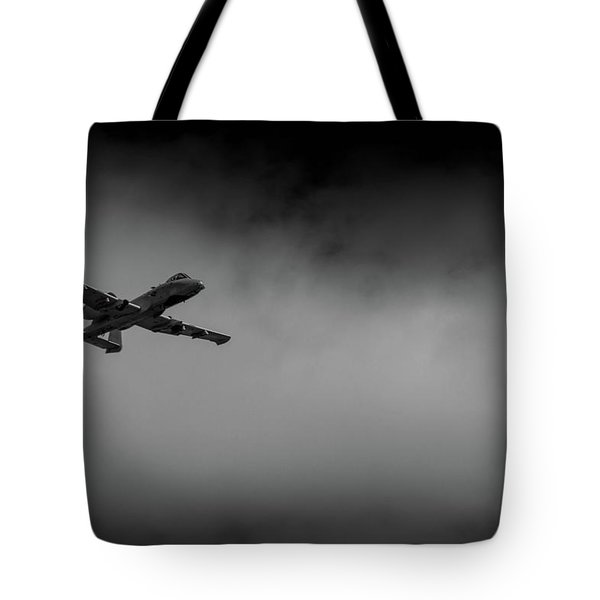 Tote Bag featuring the photograph Out Of The Clouds - A-10c Thunderbolt by Doug Camara