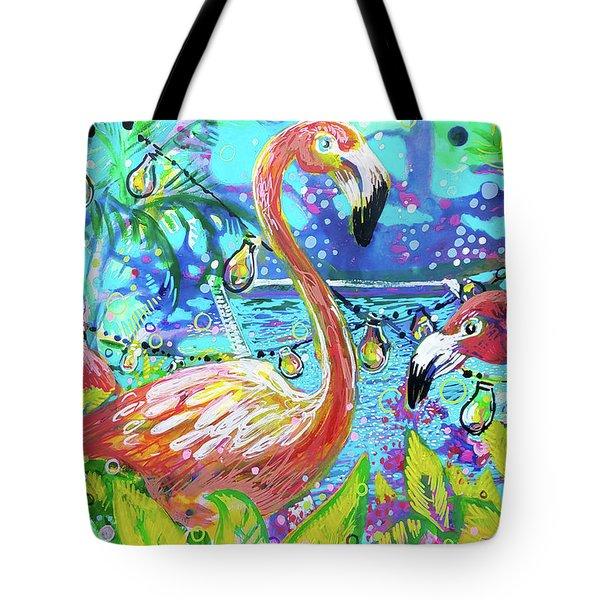 Outdoor Flamingo Party Tote Bag