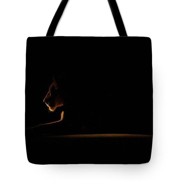 Outline African Lion Tote Bag