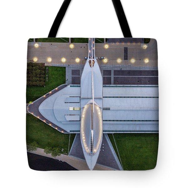 Tote Bag featuring the photograph Over Milwaukee Art Museum by Randy Scherkenbach