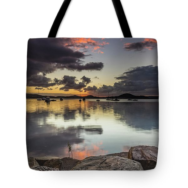 Overcast Waterscape With Hints Of Colour Tote Bag