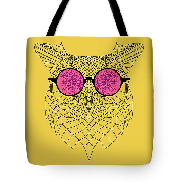 Owl In Pink Glasses Tote Bag