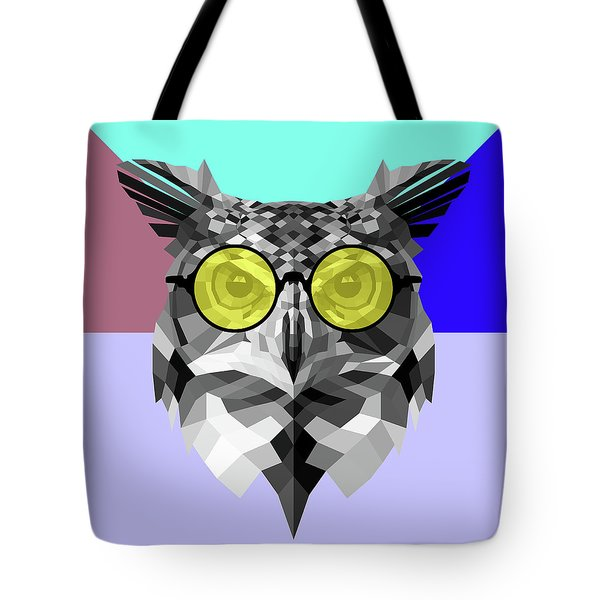 Owl In Yellow Glasses Tote Bag