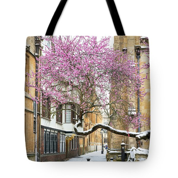 Oxford Almond Tree Blossom In The Snow Tote Bag