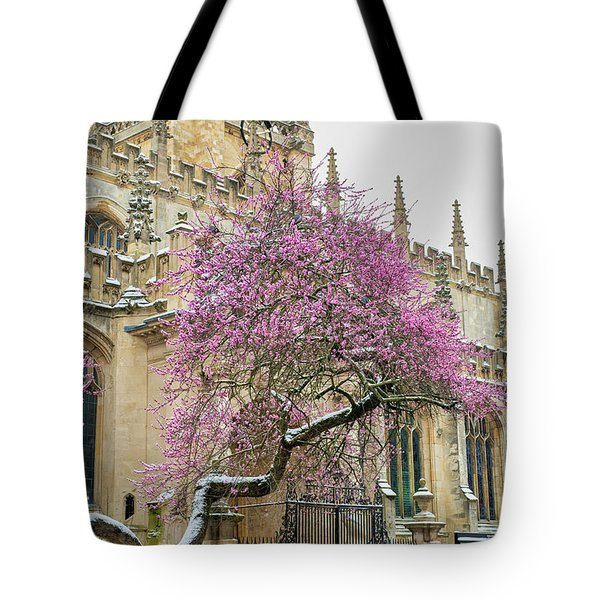 Tote Bag featuring the photograph Oxford Almond Tree Blossoming In The Snow by Tim Gainey