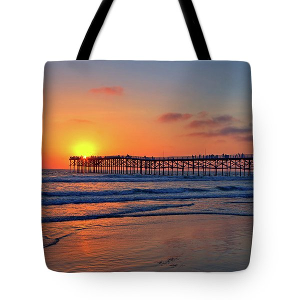 Pacific Beach Pier Sunset Tote Bag