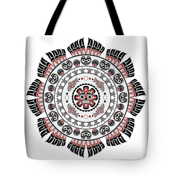 Pacific Northwest Native American Art Mandala Tote Bag