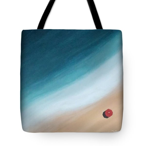 Pacific Ocean And Red Umbrella Tote Bag