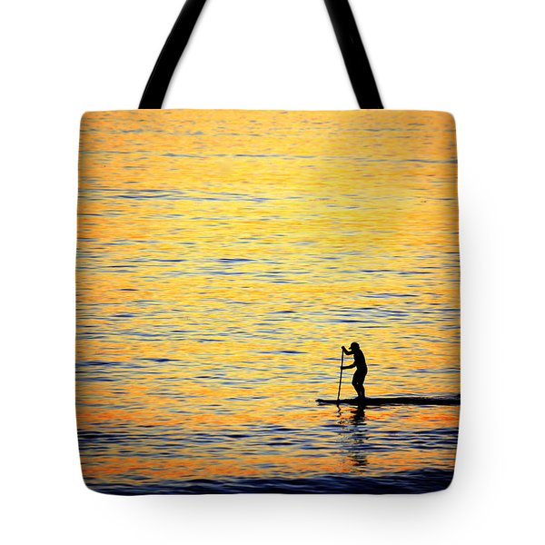 Tote Bag featuring the photograph Paddle Boarder Malibu by John Rodrigues