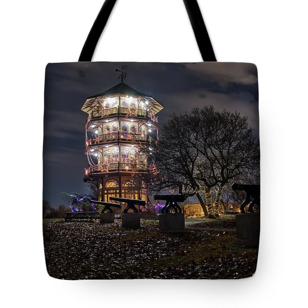 Tote Bag featuring the photograph Pagoda And The Canons by Mark Dodd