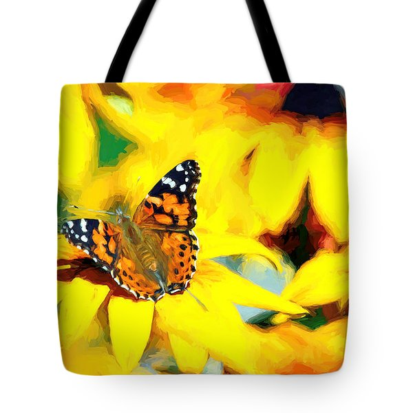 Painted Lady Butterfly Van Gogh Tote Bag