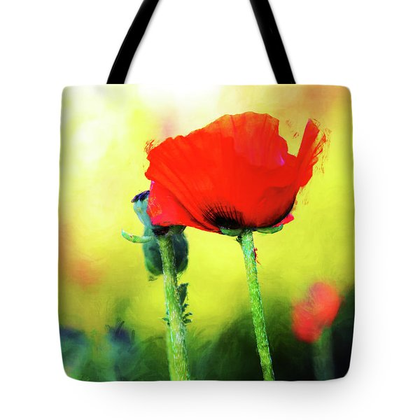 Painted Poppy Abstract Tote Bag