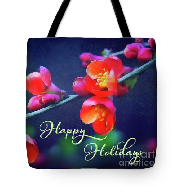 Painted Quince Blossoms Winter Holiday Art Tote Bag