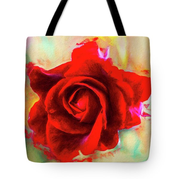 Painted Rose On Colorful Stucco Tote Bag