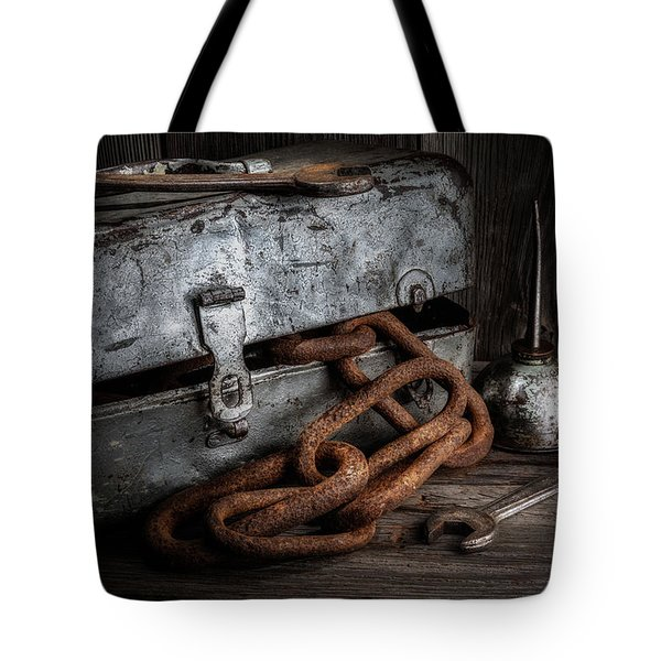 Painted Toolbox And Chain Tote Bag