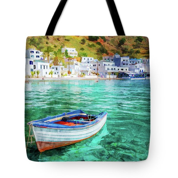 Painting Of Loutro, Crete Tote Bag