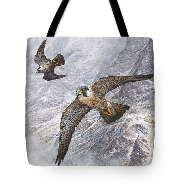 Pair Of Peregrine Falcons In Flight Tote Bag