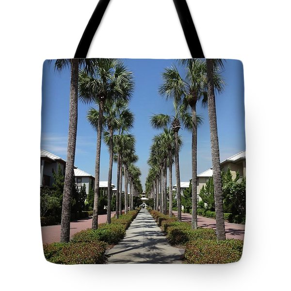 Palm Lined Pathway Tote Bag