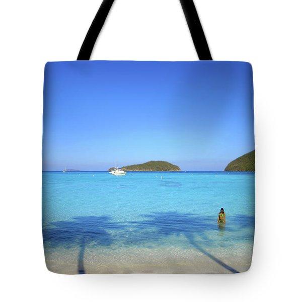 Palm Shadows On The Atlantic Tote Bag