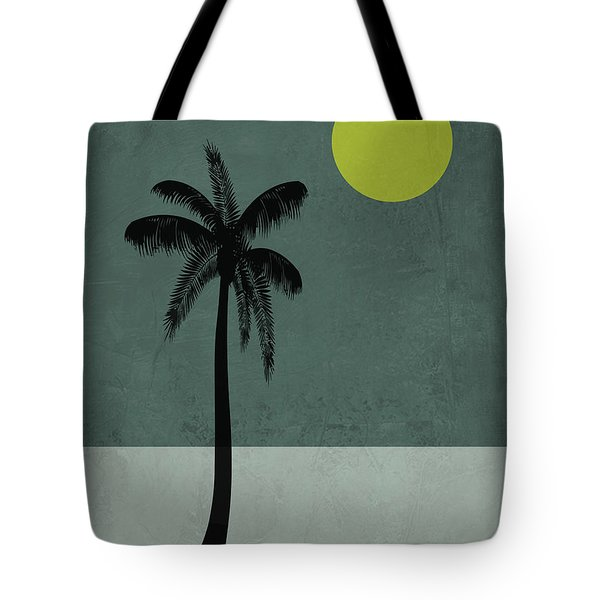 Palm Tree And Yellow Moon Tote Bag