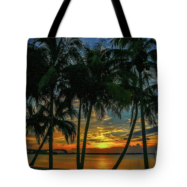 Palm Tree Lagoon Sunrise Tote Bag