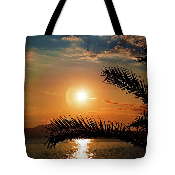 Tote Bag featuring the photograph Palm Tree On The Beach by Milena Ilieva