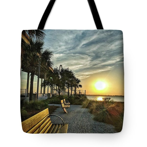 Palm Tree Sunset Tote Bag