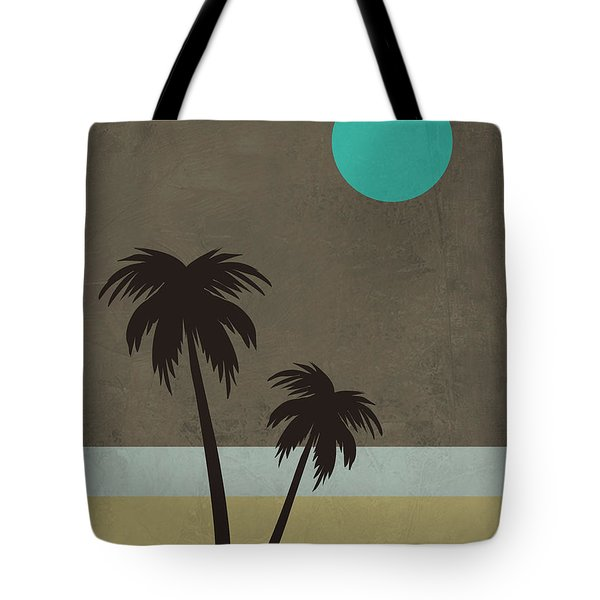 Palm Trees And Teal Moon Tote Bag