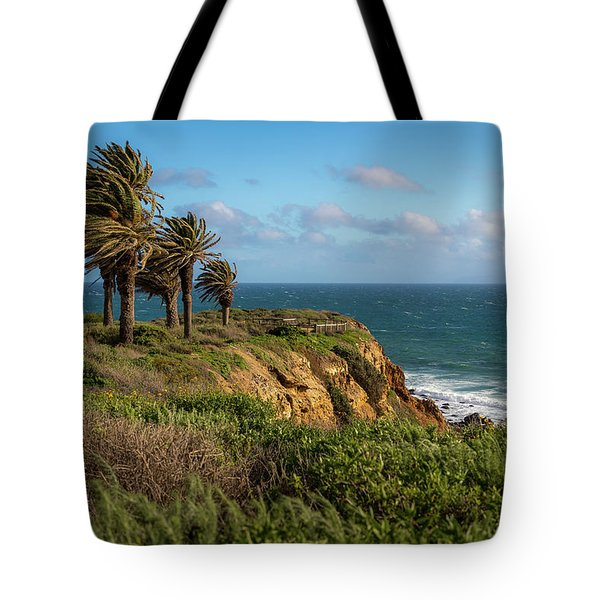 Tote Bag featuring the photograph Palm Trees Blowing In The Wind by Andy Konieczny