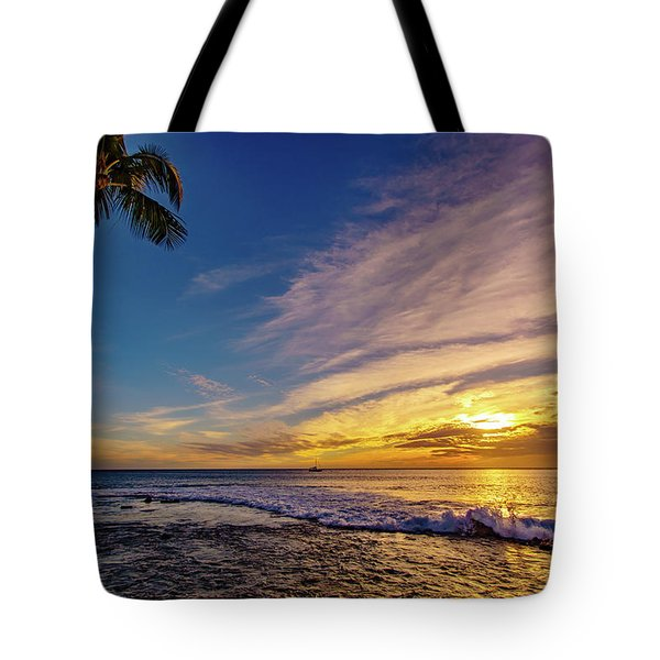 Palm Wave Sunset Tote Bag