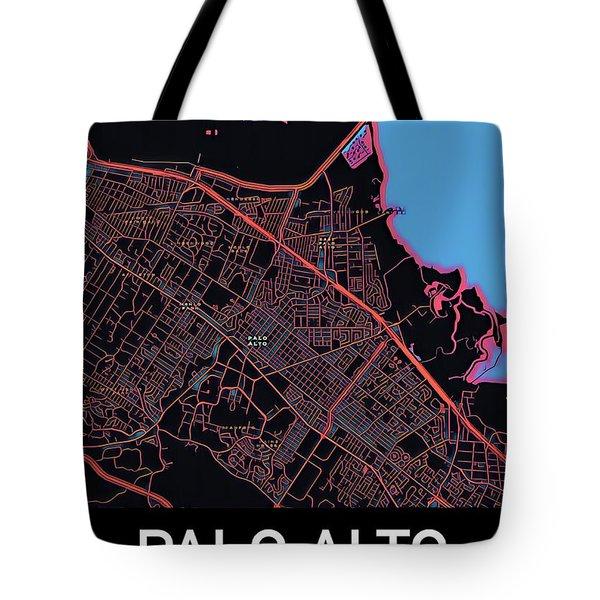 Palo Alto City Map Tote Bag