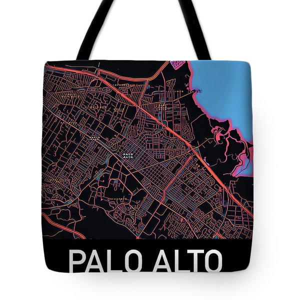 Tote Bag featuring the digital art Palo Alto City Map by Helge